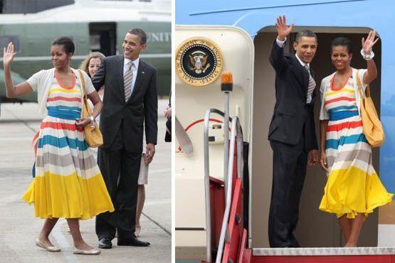 Para a despedida na segunda-feira (21), Michelle escolheu um vestido com listras coloridas