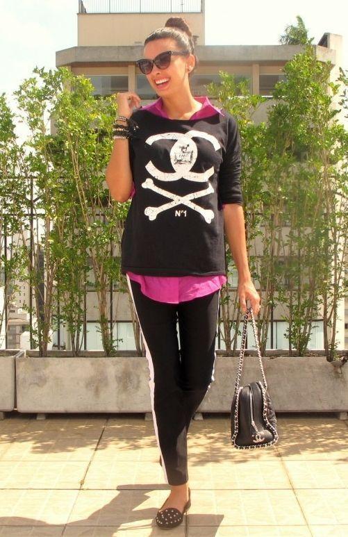 """Foto: Reprodução / <a href=""""http://ofantasticomundodenicole.com.br/2012/10/super-trend-track-pants/"""" target=""""_blank"""">O Fantástico Mundo de Nicole</a>"""