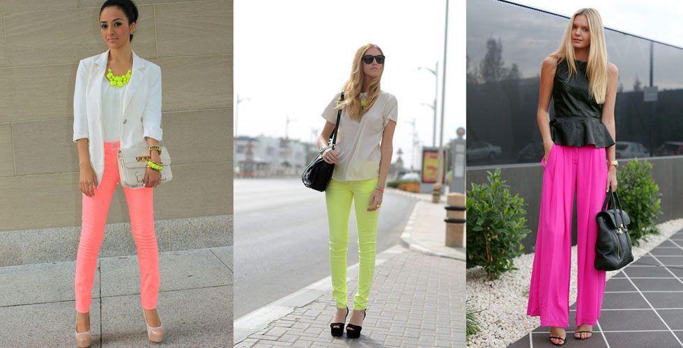 <p>Opte pela <strong>calça neon</strong> se preferir, mas sempre lembrando de equilibrar o restante do look com cores neutras como uma camisa branca ou preta, por exemplo. </p>