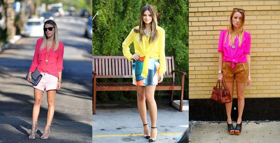 """<p> A <strong>camisa feminina</strong> é uma forte <a href=""""http://www.dicasdemulher.com.br/galeria/inspire-se-looks-com-camisa-para-o-verao/""""> tendência para o verão 2013. </a> Para complementar o <strong>look neon</strong> prefira peças de cores neutras como um shorts jeans. As estampas são permitidas para quem deseja montar um look mais ousado. </p>"""
