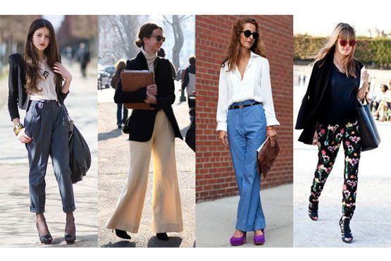 Para criar volume nas pernas e quadris, opte por pantalonas, calças saruel, calças de alfaiataria masculina e calças com pregas.