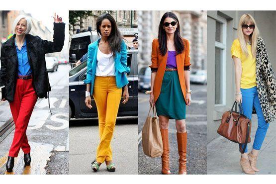 Composições de cores diversas - estilo color blocking - ou tom sobre tom são indicadas.