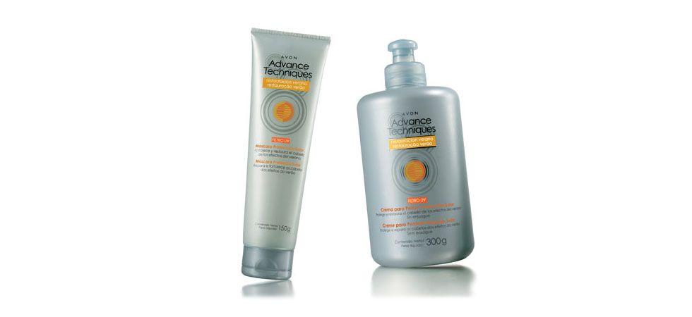 """<p>Existem no mercado diversos produtos que são específicos para cuidar dos cabelos nas épocas mais quentes do ano. Alguns exemplos são a máscara reparadora, o <a href=""""http://www.dicasdemulher.com.br/protetor-solar-para-os-cabelos/"""">filtro solar para cabelos</a>, creme para pentear pré-sol, xampus pós-sol e produtos para evitar que os loiros fiquem manchados. Compensa investir nesses produtos para <a href=""""http://www.dicasdemulher.com.br/cuidados-com-os-cabelos-no-verao/"""">evitar que o cabelo fique ressecado e estragado por causa do calor</a> e do cloro das piscinas e que ele manche ou fique com aspecto não-saudável. </p> <p>Foto: Avon Advance Techniques Restauração Verão Máscara (preço médio R$14) E Creme para pentear (preço médio R$14) </p>"""