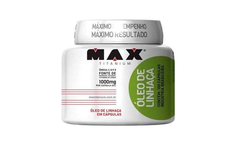 """Óleo de Linhaça cápsulas Max Titanium por R$39,24 na <a href=""""http://www.bigforma.net.br/index.php/det/8330/Oleo-de-Linhaca-1000Mg-100-Capsulas-Max-Titanium/"""" target=""""blank_"""">Bigforma</a>"""