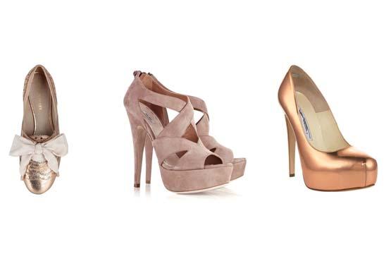 Idéias do que calçar nos looks com ouro rosa