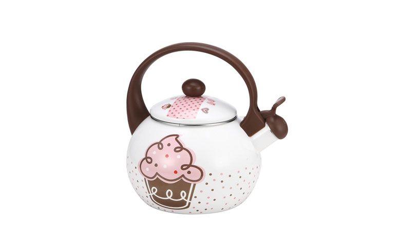 """Chaleira Cupcake por R$132,99 na <a href=""""http://www.submarino.com.br/produto/8678734/chaleira-esmaltada-cupcake-enamel-2-2-litros-10008-decorcasa"""" target=""""blank_"""">Submarino</a>"""