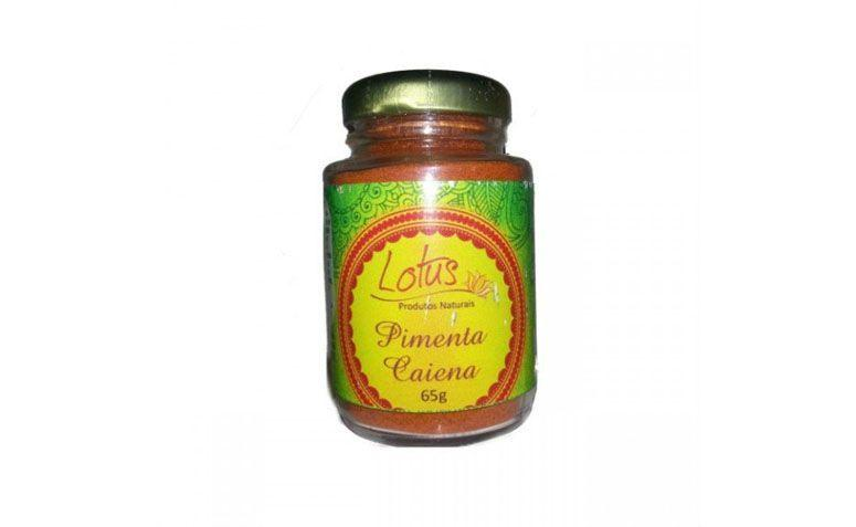"Pimenta Caiena Lotus por R$17 na <a href=""https://www.tudosaudavel.com/produto/pimenta-caiena-50g-lotus/"" target=""blank_"">Tudo Saudável</a>"
