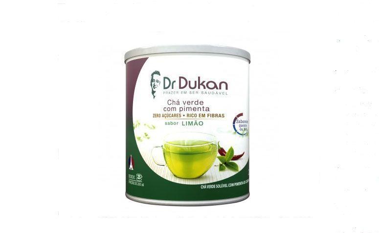 """Chá verde com pimenta caiena Dr. Dukan por R$30,59 na <a href=""""http://www.lojadietadukan.com.br/cha-verde-de-pimenta-de-caiena-sabor-limao"""" target=""""blank_"""">Loja Dieta Dukan</a>"""