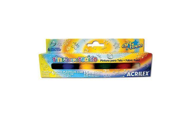 Acrilex kankaiden Paint pakki himmeä vaikutus 6 väriä R $ 6,40 vuonna Horizonte Bazaar
