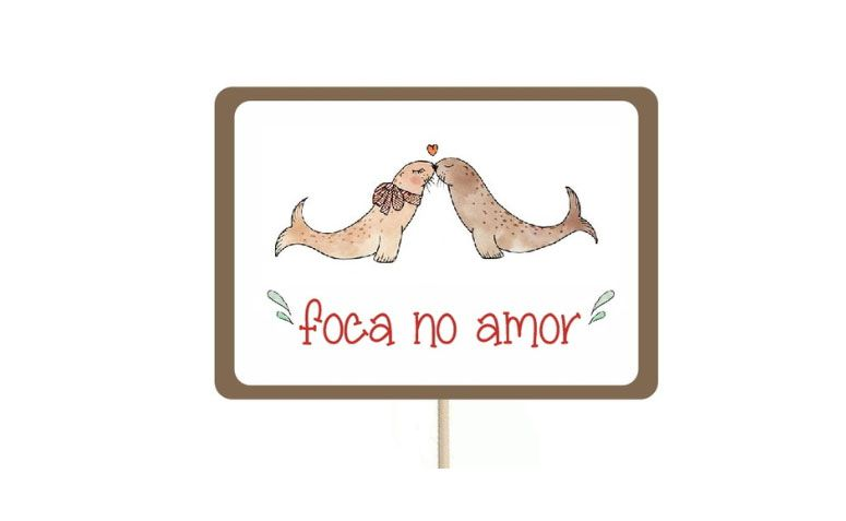 Foca small plaque in love for R $ 2.99 in Elo7