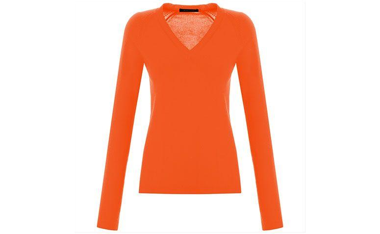 "Suéter laranja de gola V Ambicione por R$159 na <a href=""http://www.capitollium.com.br/produto/SUETER-BERING-LARANJA-147635?atributo=158:Laranja"" target=""blank_"">Capitollium</a>"