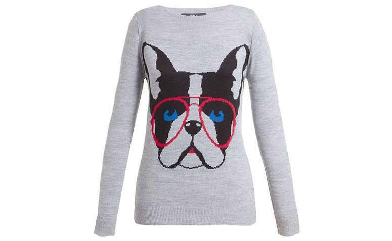 "Suéter com estampa de cachorro 284 por R$199 na <a href=""http://www.oqvestir.com.br/blusa-trico-284-bulldog-cinza-62332.aspx/p"" target=""blank_"">Oqvestir</a>"