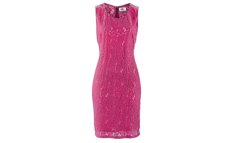"Vestido de renda curto rosa por R$189 na <a href=""http://www.bonprix.com.br/produto/vestido-tubinho-de-renda-pink-claro-1925535/#image"" target=""blank_"">Bon Prix</a>"