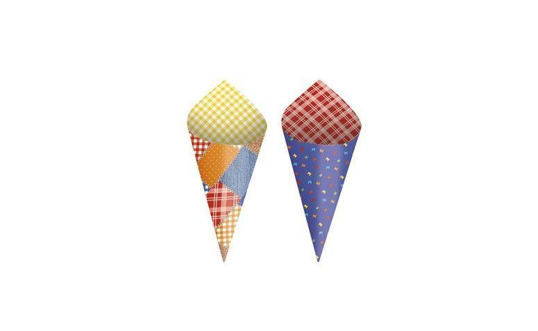 "Cone de papel – 24 unidades por R$  42,80 no <a href=""http://www.festabox.com.br/produto/16284/cone+de+papel+cartao+para++festa+junina"" target=""_blank""> Festa Box </a>"