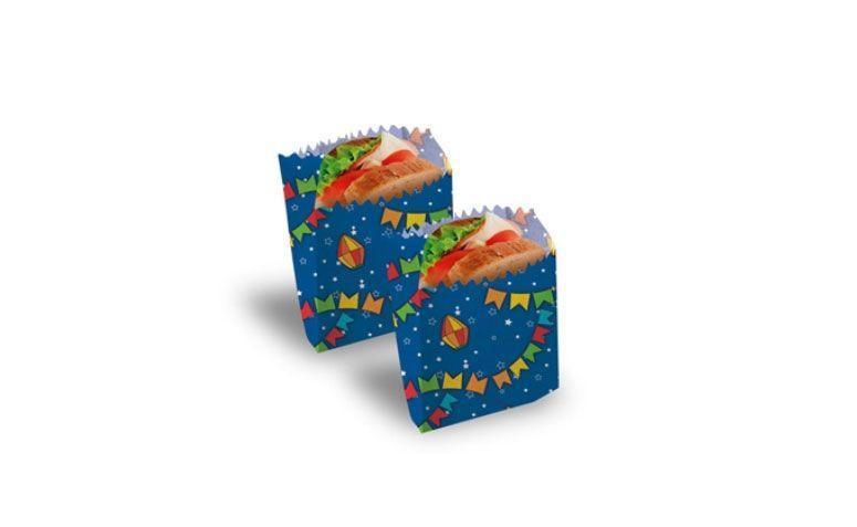 """Saco de Papel Para Lanche por R$  17,90 no <a href=""""http://www.festabox.com.br/produto/16288/saco+de+papel+para+lanche+azul+festa+junina+cromus"""" target=""""_blank""""> Festa Box </a>"""