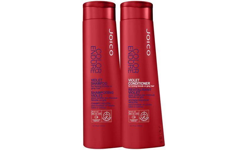 """Kit Xampú e condicionador violeta Joico por R$195,80 na <a href=""""http://www.belezanaweb.com.br/joico/joico-color-endure-violet-duo-kit-2-produtos/"""" target=""""blank_"""">Beleza na Web</a>"""