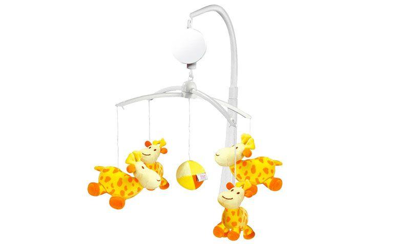 "Móbile musical girafas por R$129,90 na <a href=""http://www.bebestore.com.br/bebestore/produto/mobile-musical-girafas--dican/45589"" target=""_blank"">Bebê Store</a>"