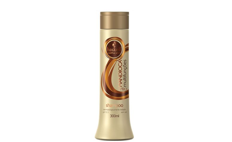 "Shampoo mandioca Haskell por R$36,59 na <a href=""http://www.casanostracosmeticos.com.br/shampoo-haskell-mandioca-afro-multifuncoes-cabelos-afros-300ml.html"" target=""_blank"">Casa Nostra Cosméticos</a>"