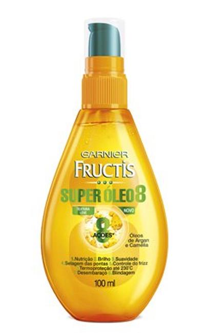 Super Óleo 8, da Garnier Fructis, com óleo de argan e extrato de camélia, promete 8 benefícios | R$ 19,90