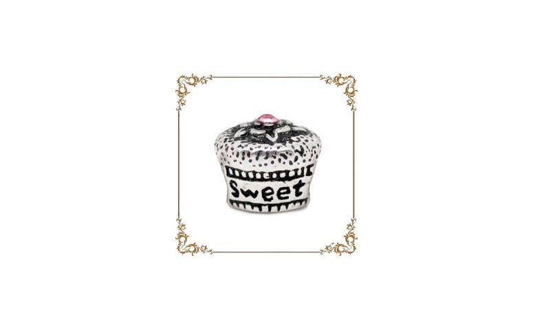 """Berloque de capcake folheado à prata por R$9,80 na <a href=""""http://www.ganara.com.br/loja/berloque-cupcake-2-0306.html"""" target=""""blank_"""">Ganara</a>"""