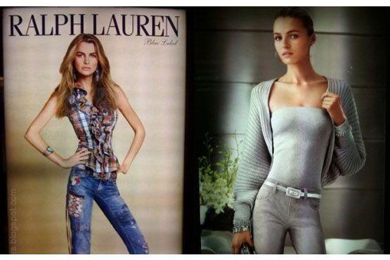 Fotos com excesso de Photoshop em campanha da americana Ralph Lauren.