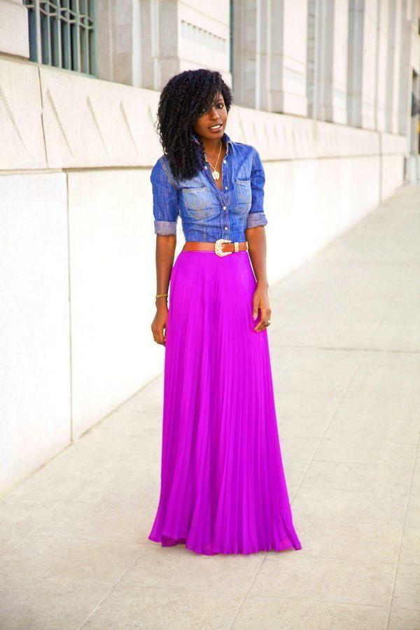 "Foto: Reprodução / <a href=""http://stylepantry.com/2013/11/15/fitted-denim-shirt-pleated-maxi-skirt/"" target=""_blank"">Style Pantry</a>"