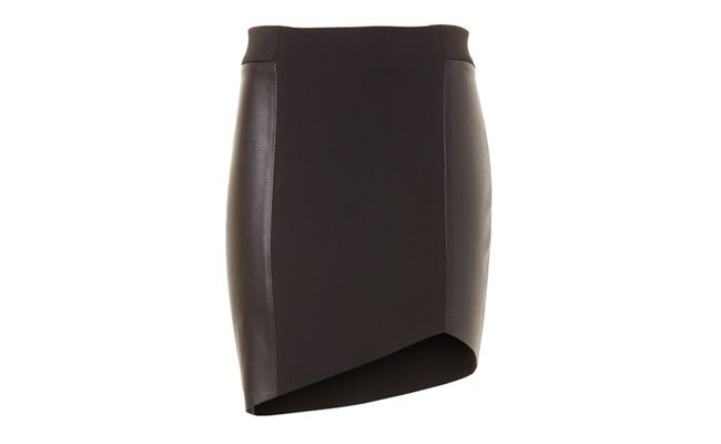 Pencil skirt Neoprene and leather Virginia Preto by RS229,00 in Capitollium