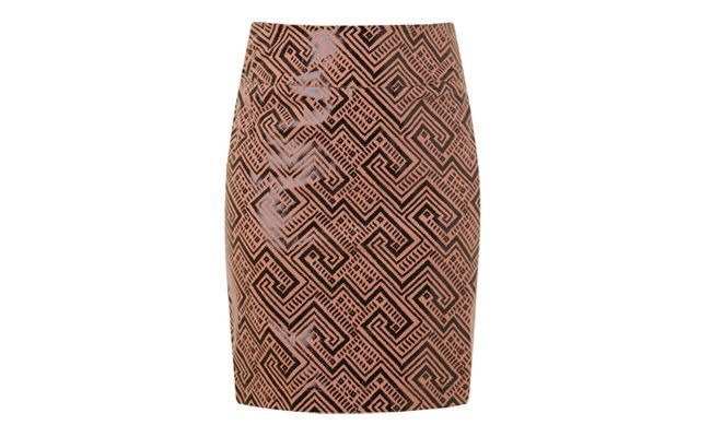Pencil skirt in Ethnic Pattern Twill Coya Caramel and Black by RS198,00 in Capitollium