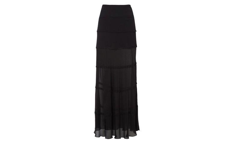Spódnica długa czarna z wycięciami na R $ 480,00 w OQVestir