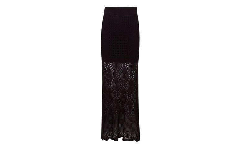Spódnica długa czarna dzianina dla R $ 107,00 w OQVestir