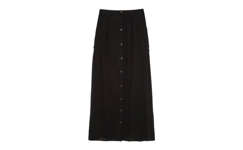 Długa spódnica z czarnymi przyciskami R $ 179,00 w OQVestir