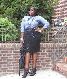"Foto: Reprodução / <a href=""http://stylishcurves.com/denim-shirts-and-sequin-skirts/"" target=""_blank"">Stylish Curves</a>"