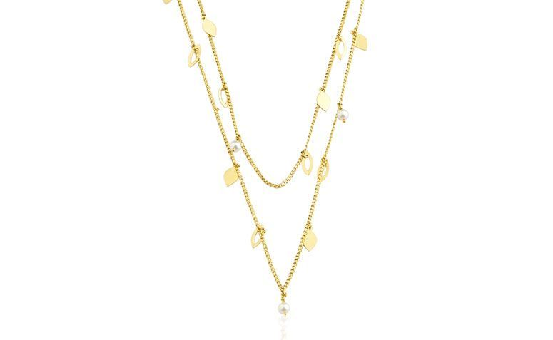 """Colar duplo banhado a ouro por R$110,00 na <a href=""""http://www.toquedejoia.com/produto/01CO0255000/colar-semijoia-duplo-folhas-com-perolas"""" target=""""blank_"""">Toque de Joia</a>"""