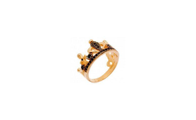 """Anel coroa folheado a ouro por R$74,00 na <a href=""""http://www.franciscajoias.com.br/anel-semi-joia-coroa-com-detalhes-cravejados-em-zirconias-pretas-folheado-em-ouro-18k.html"""" target=""""blank_"""">Francisca Joias</a>"""