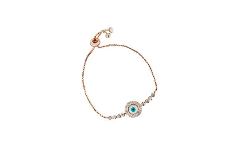"""Pulseira olho grego banhada a ouro rosé por R$340,00 na <a href=""""http://www.vika.com.br/pulseira-olho-grego-11137.aspx/p"""" target=""""blank_"""">Vika</a>"""