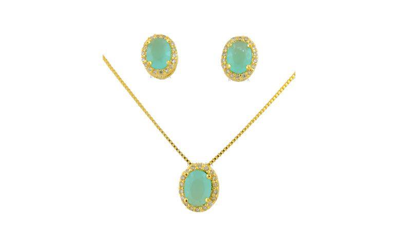 """Conjunto folheado a ouro com pedras naturais por R$144,40 na <a href=""""http://www.riverajoias.com.br/produto.php?produto=979-conjunto-semi-joia-pedras-naturais-e-zirconias"""" target=""""blank_"""">Rivera Joias</a>"""