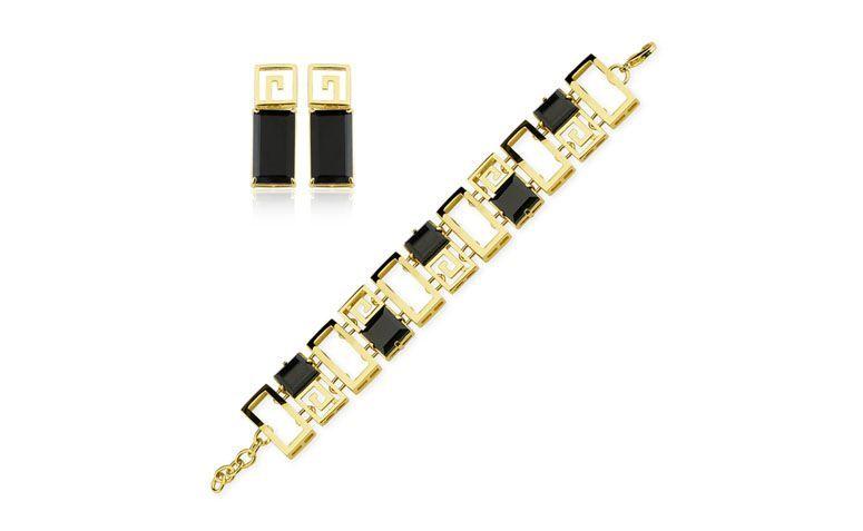 """Conjunto banhado a ouro com quartzo por R$798,30 na <a href=""""http://www.toquedejoia.com/produto/01KO0022P00/conjunto-semijoia-labirinto-quartzo-negro"""" target=""""blank_"""">Toque de Joia</a>"""