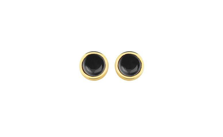 """Brinco banhado a ouro com quartzo negro por R$56,00 na <a href=""""http://www.toquedejoia.com/produto/01BO0704P00/brinco-semijoia-ouro-18k-circulo-unico-quartzo-negro"""" target=""""blank_"""">Toque de Joia</a>"""