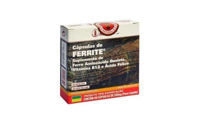 "Cápsulas de Ferrite da Naturalis por R$25,90 na <a href=""http://www.corpoperfeito.com.br/produto/ferrite_naturalis"" target=""blank_"">Corpo Perfeito</a>"