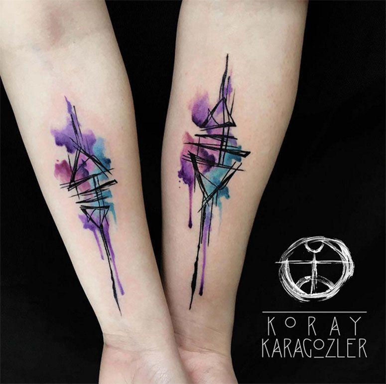 Abstract Watercolor Tattoos And Arm Tattoo: Tatuagens Para Casal: 60 Tattoos Lindas Para Celebrar O Amor