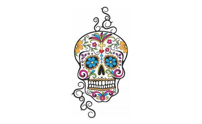 """Tatuagem caveira por R$7 na <a href=""""http://www.tatuagemmania.com.br/produtos/1847,Feminina_Grande_007#.VA72L_ldX-s"""" target=""""_blank"""">Tatuagem Mania</a>"""
