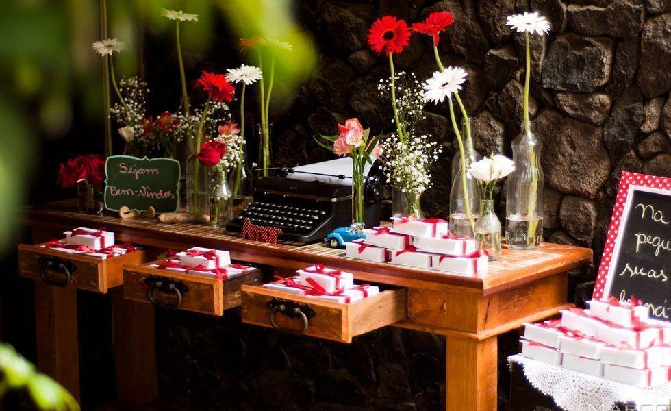 <p>Este é o tema ideal para casais que curtam o estilo vintage e retrô de se vestir e decorar. Vitrolas, máquinas de escrever, livros e telefones antigos podem ser as apostas na decoração. Tons pastel são os mais adequados para dar o ar retrô ao ambiente. A delicadeza também é um aspecto desse tema, por isso, vale a pena investir em objetos fofos e românticos. </p>
