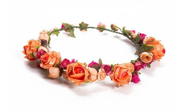 "Coroa Rosa e Laranja por R$95,00 na <a href=""http://doloresiguacel.com.br/coroa-summer.html"" target=""_blank"">Dolores Iguacel</a>"