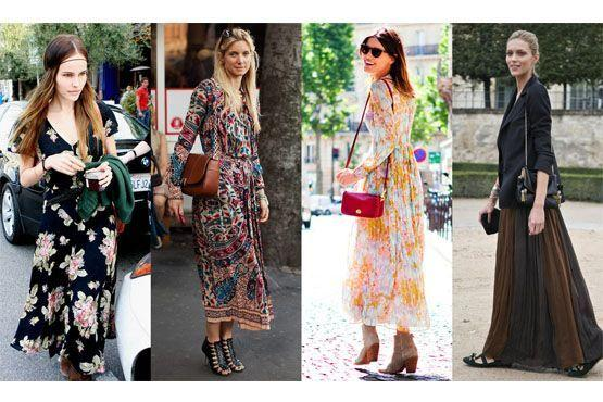 Vestidos longos, em cores ou estampados, acentuam as curvas e definem a silhueta.