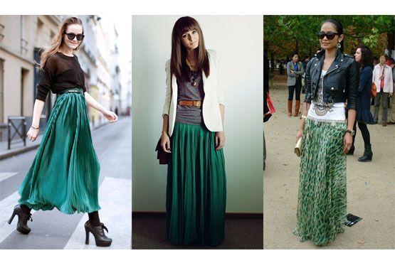 Saias verde-esmeralda