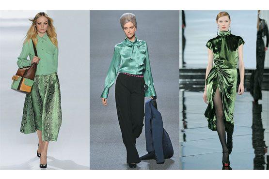 Verde-esmeralda nos desfiles