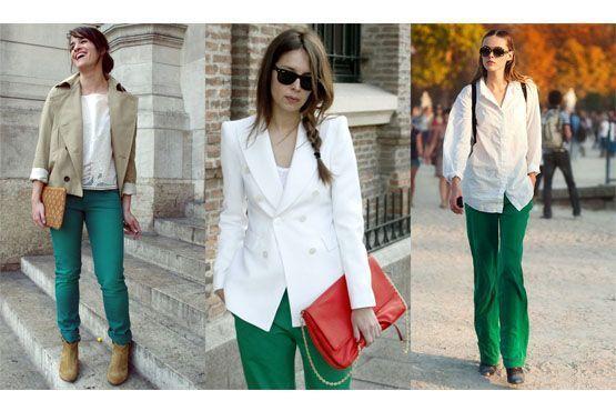 Calças verde-esmeralda combinam-se aos tons neutros, sóbrios e terrosos.