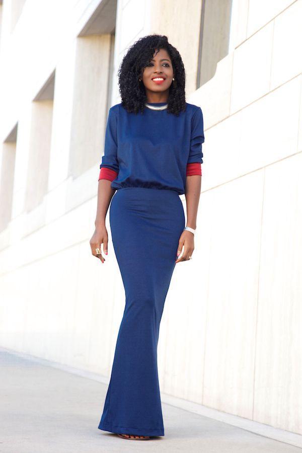 "Foto: Reprodução / <a href="" http://stylepantry.com/2015/11/09/crew-neck-34-sleeve-maxi-dress/ "" target=""_blank""> Stylepantry </a>"