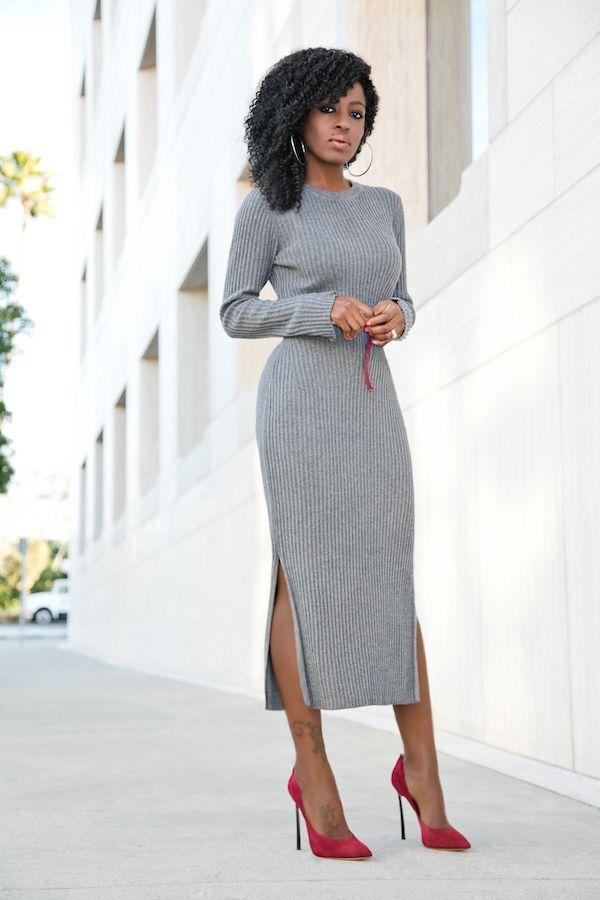 """Foto: Reprodução / <a href="""" http://stylepantry.com/2016/01/06/ribbed-sweater-midi-dress/"""" target=""""_blank"""">Stylepantry</a>"""