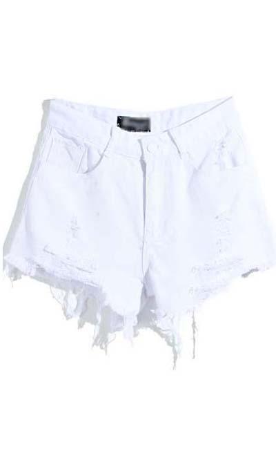"Hot pants jeans branca US$25.90 no <a href=""http://www.sheinside.com/White-Pockets-Ripped-Zipper-Denim-Shorts-p-137745-cat-1740.html"" target=""blank_""> Sheinside </a>"